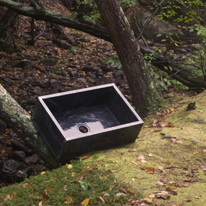 Soapstone sink against tree
