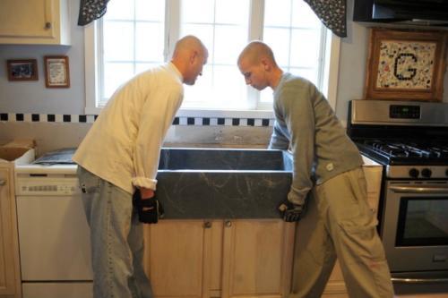 Installing soapstone sink 2